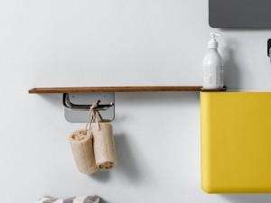 Falper repisa en madera con porta papel en laton WL6