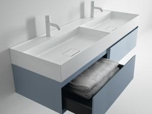 Falper Quattro.Zero doble lavabo sobre encimera o mural D7I