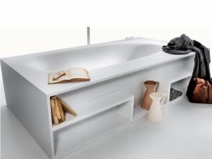 Falper Vascamisura bañera de pié con repisas en madera VKE