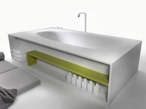 Falper Vascamisura bañera de pié con repisa en madera VKI