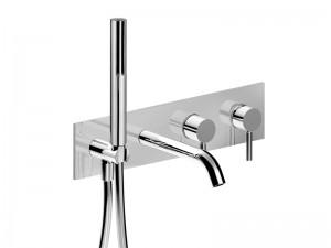 Fantini Nostromo Acciaio grifo para bañera mural con desviador y ducha de mano E820B