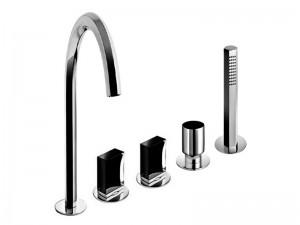 Fantini Venezia grifo para bañera 5 agujeros con desviador y ducha de mano extraible N465S
