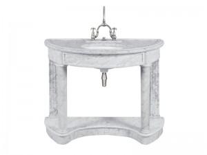 Lefroy Brooks Demi Lune consola de marmol Carrara LB6330WH